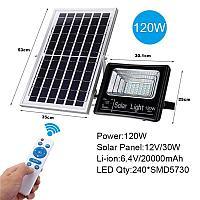Прожектор с солнечной батареей и пультом управления, 120 Вт, фото 1