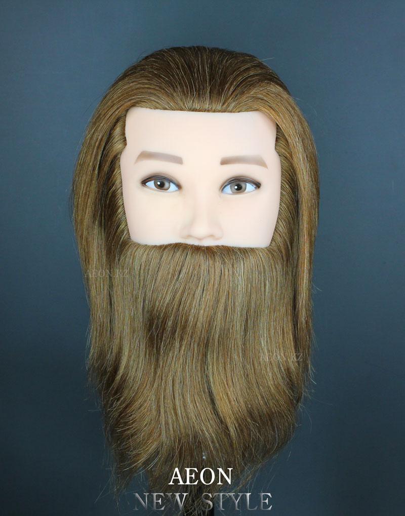 Голова-манекен мужской с бородой шатен волос (100%)  - 40 см