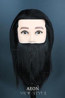Голова-манекен мужской с бородой брюнет волос (100%)  - 40 см