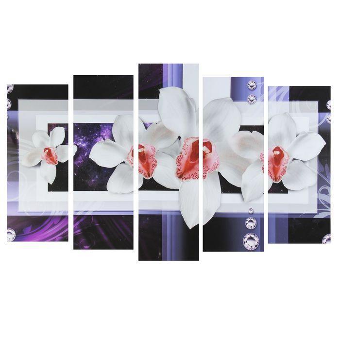 """Картина модульная на подрамнике """"Белые цветы""""  2-25*63; 2-25*71; 1-25*80: 125*80 см"""