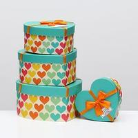 Набор коробок в форме сердца 4 в 1 'Сердце', 23,5 х 22 х 11,5 - 14 х 14,5 х 7,5 см