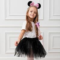 Карнавальный костюм для девочек «Мышка Нана», юбка, ободок, термонаклейка