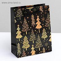 Пакет голографический вертикальный «Елки», S 12 × 15 × 5.5 см