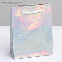 Пакет голографический вертикальный «Снежинки», S 12 × 15 × 5.5 см