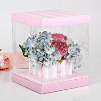Коробка для цветов с вазой и PVC-окнами With Love, складная, 23 x 30 x 23 см