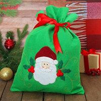 Мешок для подарков 'Дед Мороз', на завязках, цвет зелёный