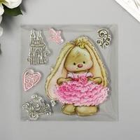 Штамп для творчества силикон 'Милая зайка в розовом платье' 10х10 см