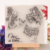 Штамп для творчества силикон 'Девушка с цветами и птица на ветке' 10х10 см