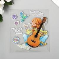 Штамп для творчества силикон 'Девочка с гитарой' 10х10 см