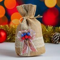 Мешок новогодний 'Цветочные украшения', мешковина, 17х24 см