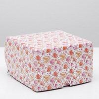 Упаковка для капкейков на 4 шт, 'Сердечки', без окна, 16 х 16 х 10 см (комплект из 5 шт.)