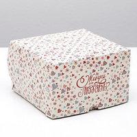 Упаковка для капкейков на 4 шт, 'Жизнь это любовь', без окна, 16 х 16 х 10 см (комплект из 5 шт.)