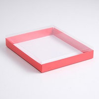 Коробка картонная с прозрачной крышкой, алый, 26 х 21 х 3 см (комплект из 5 шт.)