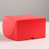 Упаковка для капкейков на 4 шт, без окна, алая, 16 х 16 х 10 см (комплект из 5 шт.)