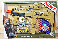 Упаковка немного помята!!! 34000 POWER GUN военный автомат музыкальный,12патронов, 37*26см