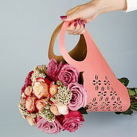 Пакет для цветов с вырубкой 'Кувшин', розовый, 37 х 18 см (комплект из 5 шт.)