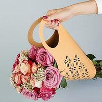 Пакет для цветов с вырубкой 'Кувшин', оранжевый, 37 х 18 см (комплект из 5 шт.)