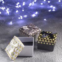 Коробочка подарочная под кольцо 'Треугольники', 5*5 (размер полезной части 4,5х4,5см), цвет МИКС (комплект из