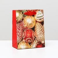 Пакет ламинированный 'Золотистые игрушки', 11,5 x 14,5 x 6 см (комплект из 12 шт.)