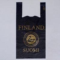 Пакет 'Suominen' чёрный, полиэтиленовый, майка, 28 х 55 см, 35 мкм (комплект из 50 шт.)