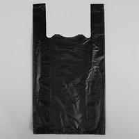 Пакет 'Чёрный', полиэтиленовый, майка, 25 х 45 см, 11 мкм (комплект из 100 шт.)