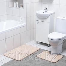 Набор ковриков для ванны и туалета Доляна «Галька, ракушки», 2 шт: 39×40, 50×80 см, цвет бежевый