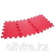 Детский коврик-пазл (мягкий), 9 элементов, толщина 0,9 см, цвет красный, термоплёнка