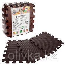 Детский коврик-пазл (мягкий), 9 элементов, толщина 0,9 см, цвет коричневый, термоплёнка