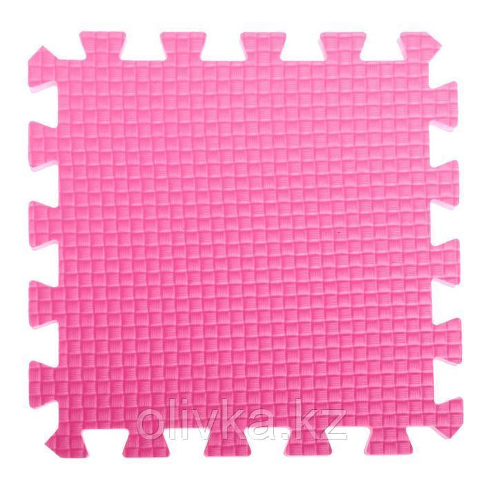 Детский коврик-пазл (мягкий), 9 элементов, толщина 1,8 см, цвет розовый, термоплёнка - фото 2