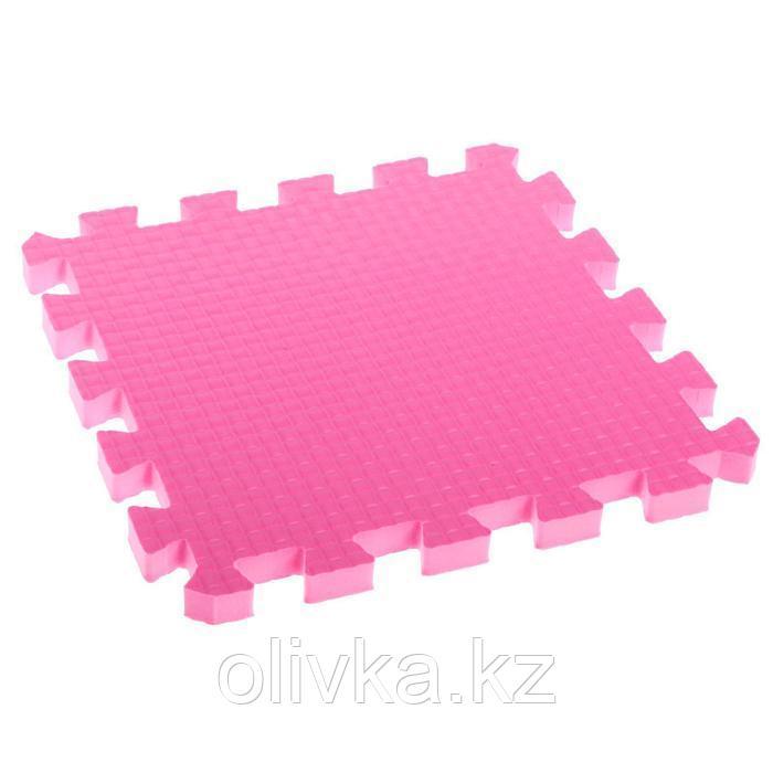 Детский коврик-пазл (мягкий), 9 элементов, толщина 1,8 см, цвет розовый, термоплёнка - фото 3