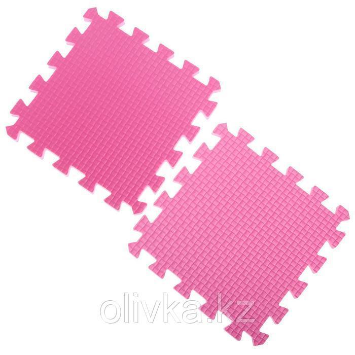 Детский коврик-пазл (мягкий), 9 элементов, толщина 1,8 см, цвет розовый, термоплёнка - фото 4