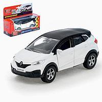 Машина металлическая инерционная Renault Kaptur, цвет бело-черный, открываются двери, 12 см
