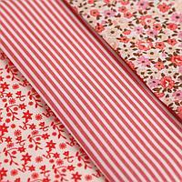 Ткань для пэчворка 3 лоскута «Цветы», 50 × 50 см