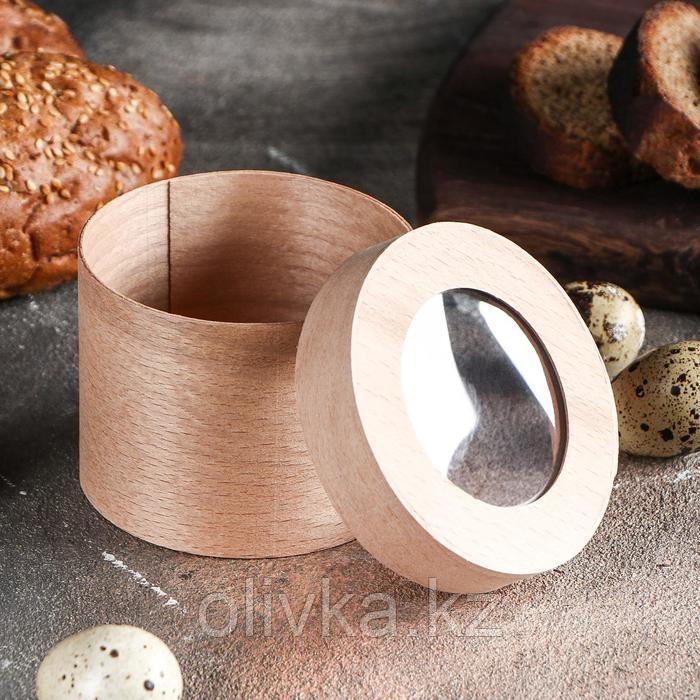 Коробочка подарочная из шпона с прозрачной крышкой, 75 х 60 мм - фото 2