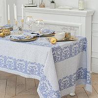 """Столовый набор """"Этель"""" (скатерть 150х150 см, салфетки 45х45 см - 4 шт.) цвет синий, хл. с ВМГО"""