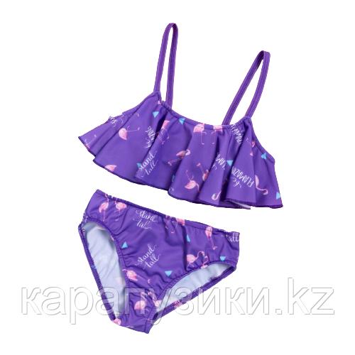 Детские купальники  фиолетовый фламинго