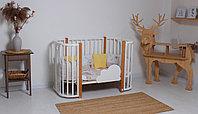 Овальная кроватка детская Tomix Mio белый\стойки бук, фото 1