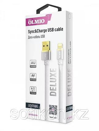 Кабель OLMIO DELUXE, USB 2.0 - lightning, 1м, 2.1A, белый, фото 2