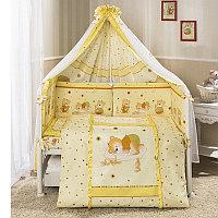 Комплект в кроватку НИКА Мишка на подушке Perina, бежевый