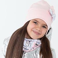 Комплект (шапка,снуд) для девочки, цвет пудра/принт кролики, размер 46-50