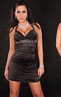 Черное короткое вечернее платье со стразами