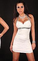 Белое Элегантное короткое вечернее платье со стразами