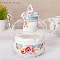 Чайник заварочный «Софи», 800 мл, с керамическим ситом и подставкой для подогрева, МИКС