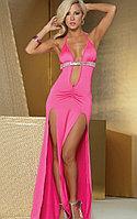 Розовое сексуальное длинное платье