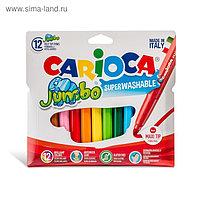 Фломастеры Maxi, 12 цветов, Carioca Jumbo 6.0 мм, толстые, в картонном конверте