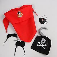 Карнавальный костюм взрослый «Чёрный Генри», бандана, наглазник, крюк, борода, усы