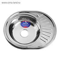 """Мойка кухонная MIXLINE 528190, врезная, 0.6 мм, 57х45х16 см, левая, вып. 3 1/2"""", с сифоном"""