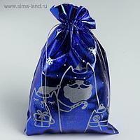 Мешочек подарочный парча «Новогодние коты», 16 х 24 см