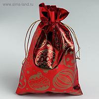 Мешочек подарочный парча «Новогодние шары», 16 х 24 см