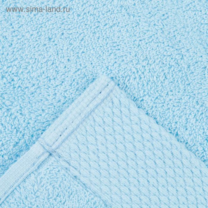 Полотенце махровое гладкокрашеное 70х140 см, голубой, хлопок 100%, 480г/м2 - фото 3